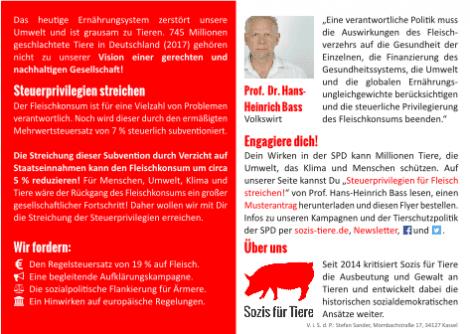 Postkarte: Steuerprivilegien streichen! 19 % Mehrwertsteuer auf Fleisch Rückseite