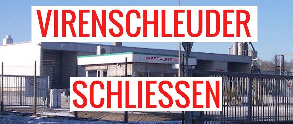 Virenschleuder Westfleisch schließen, Hintergrund: Werkseinfahrt Westfleisch in Coesfeld