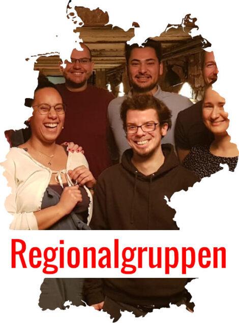 Bundesrepublik Deutschland mit eingeblendeten Aktiven. Text Regionalgruppen