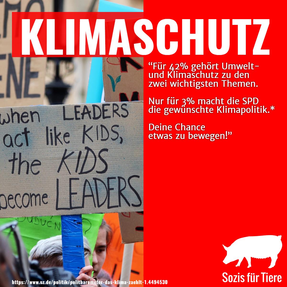 Klimaschutz: Für 42% gehört Umwelt- und Klimaschutz zu den zwei wichtigsten Themen. Nur für 3% macht die SPD die gewünschte Klimapolitik. Deine Chance etwas zu bewegen.